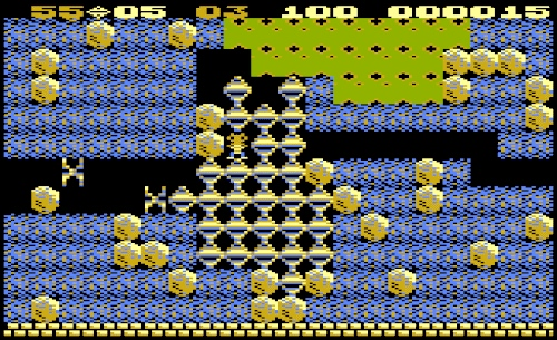 Veel diamantjes in het oude computerspel 'Boulder Dash'.