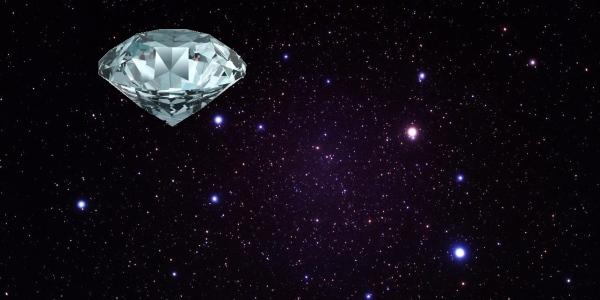 Een grote diamant in de ruimte.