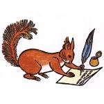 De eekhoorn schrijft een brief aan zijn vriend, de mier.