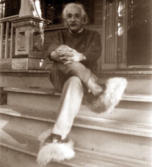 Einstein op pluizige pantoffels.