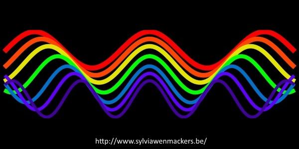 Golflengtes en regenboogkleuren.