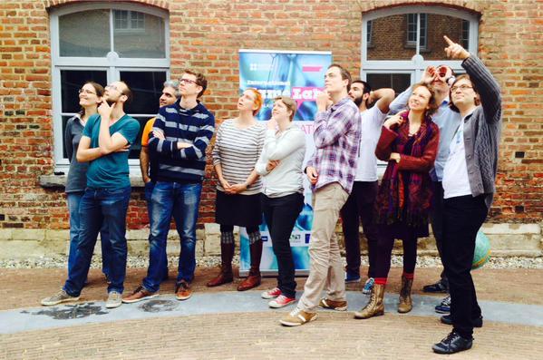 Groepsfoto Famelab 2015 MasterClass in Leuven.