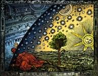 Deze houtsnede uit 1888, van de Fransman Flammarion, wordt vaak gebruikt om het begrip metafysica te illustreren: de zoektocht naar de werkelijkheid achter de wereld.