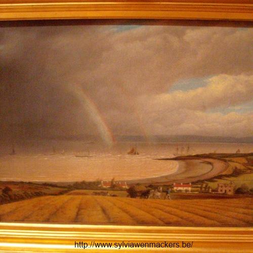 Dubbele regenboog op schilderij van Joseph Walter.