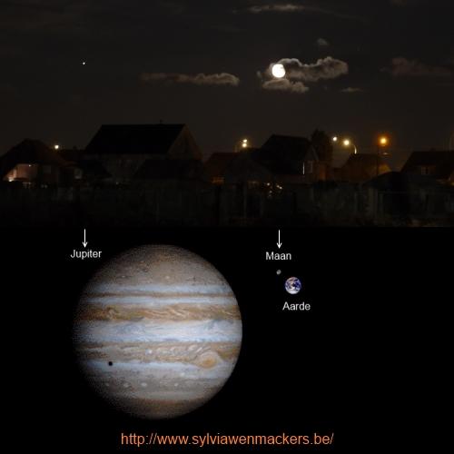 Foto van Jupiter en onze maan, met enig perspectief.