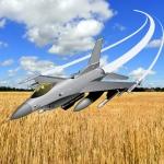 Over 't malse korenveld, 't lied des F-16's klinkt.
