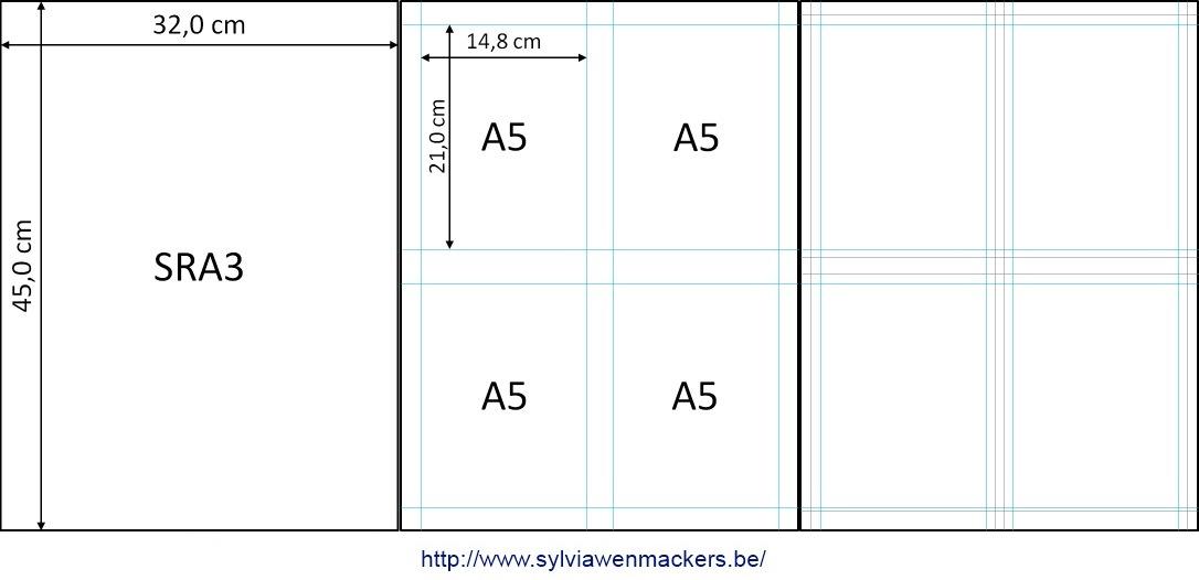 Ontwerp van A5-kaartjes op SRA3-formaat.