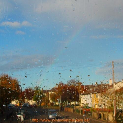 De enige regenboog die ik zag tijdens twee maanden in Engeland.