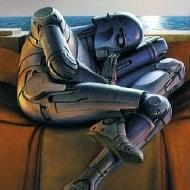 Robot dreams: deze dromerige illustratie stond op de kaft van de eerste verhalenbundel van Isaac Asimov die ik ooit las.