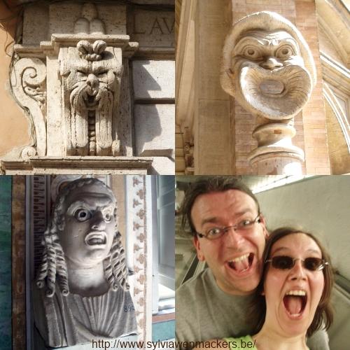 Maskers en grimassen in Rome.