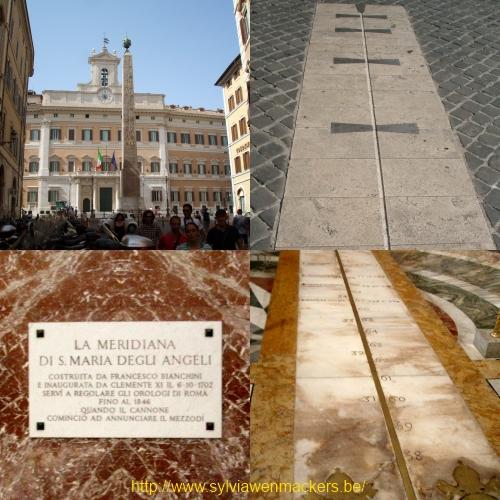 Zonnewijzer en meridiaan in Rome.
