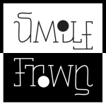 Smile frown ambigram.