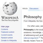 Als je maar lang genoeg verder klikt op Wikipedia kom je uiteindelijk bij filosofie terecht.