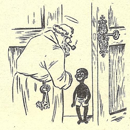 Zwarte Piet zoals afgebeeld door Renaat Demoen.